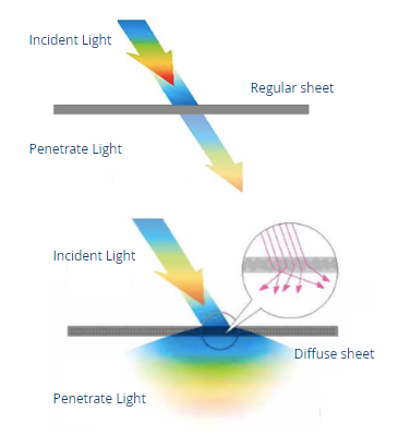 distribution of daylight through polycarbonate